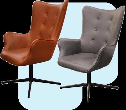 Fauteuil pivotant angles arrondis aspect cuir gris ou marron Henya