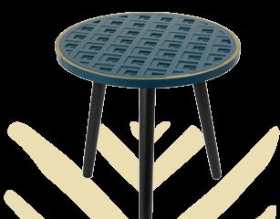 Table d'appoint bleu liseré doré avec piétement noir Liséa