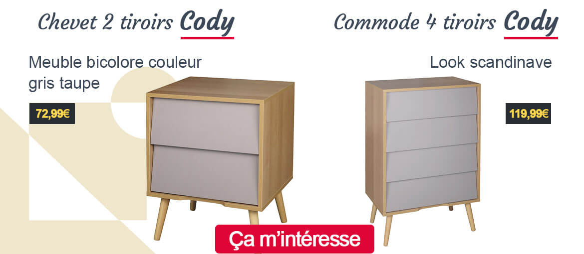 Commode et chevet Cody gris taupe scandinave