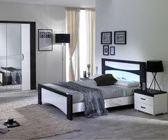 Chambre, cadre avec tête de lit, lit multi rangement, lit avec chevet