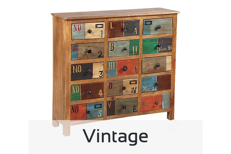 Tous nos meubles au style vintage, table, tabouret de bar, bureau, buffet, vitrine, chaise
