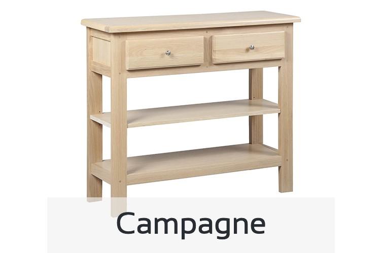 Tous nos meubles au style campagne, table, tabouret de bar, bureau, buffet, vitrine, chaise